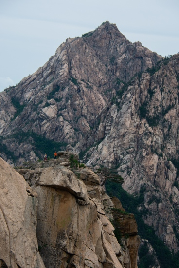 Climbers summit a peak in Seoraksan National Park in May.